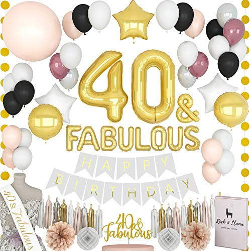 TRULY FABULOUS 40th Birthday Decorations + (40 SASH) + (FABULOUS Letter Balloons) + (Cake Topper) | Gold Black Burgundy Her Forty Year Bday Party Supplies for Women| (71+ Items) -