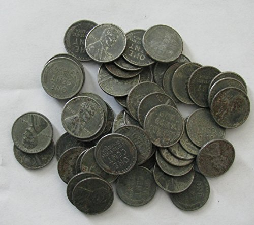 - Roll (50) 1943 Steel Wheat Cents Mixed Mint Marks Circulated