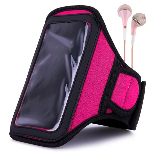 VanGoddy Armband – PINK MAGENTA Neoprene Sweat-proof w/ Key & ID Card Pouch for LG Volt LTE Android Phone + Pink Handsfree Microphone Headphones by Vangoddy