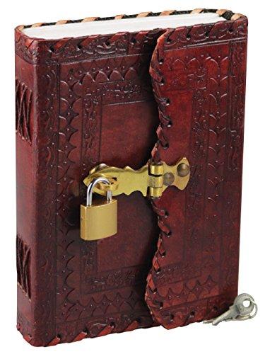 Leather Journal w/ Lock & Key - Flower Design / 5