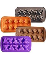 4 sztuki Halloween foremki na cukierki formy do czekolady duch dynia nietoperz kapelusz wiedźmy formy czekoladowe Halloween silikonowe formy do pieczenia nieprzywierające silikonowe formy klasy spożywczej do pieczenia/cukierków/czekolady/ciasteczek