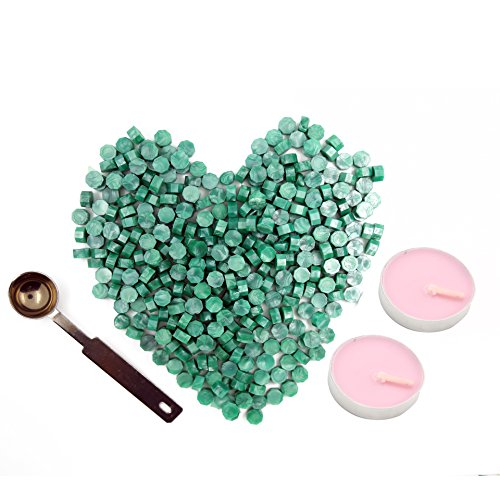 Green Sealing Wax Beads 140 Pieces OCTAGON Wax Seal Beads Kit with a Wax Melting Spoon and 2 Pieces Candles for Wax Seal Stamp (green) (Green Wax)