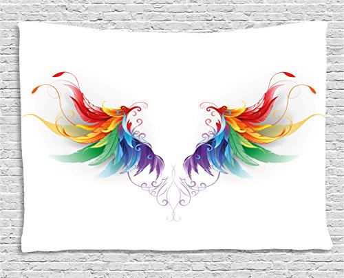 Ambesonne Rainbow Tapestry by, Reaistic Looking Feathers in Raimbow Colors Forming Wings Flight Angels Symmetrical, Wall Hanging for Bedroom Living Room Dorm, 80 W X 60 L Inches, (Flight Tapestry Wall)