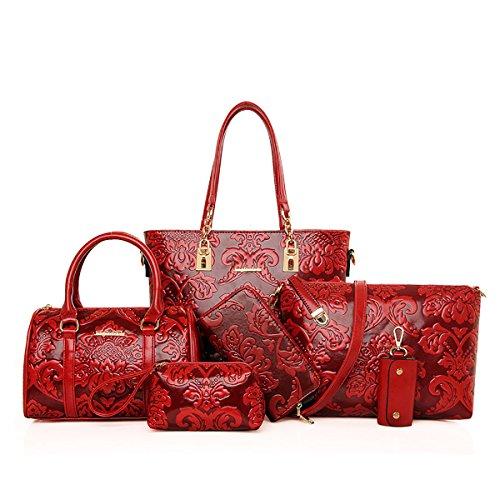 Coolives Bolso de mujer multifunción vendimia elegante establecer bolsas bolso bandolera hombro  billetera embragues Vino Tinto