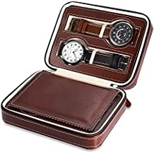EleLight 4 Grids Watch Storage Display Box, Portable Travel Leather Watch Collector Storage Case for Men & Women as A Gift(Brown) ¡