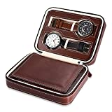 EleLight 4 Grids Watch Storage Display Box, Portable Travel Leather Watch Collector Storage Case for Men & Women as A Gift (Brown)