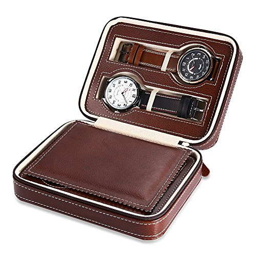 EleLight 4 Grids Watch Storage Display Box, Portable Travel Leather Watch Collector Storage Case for Men & Women as A Gift (Brown) by EleLight