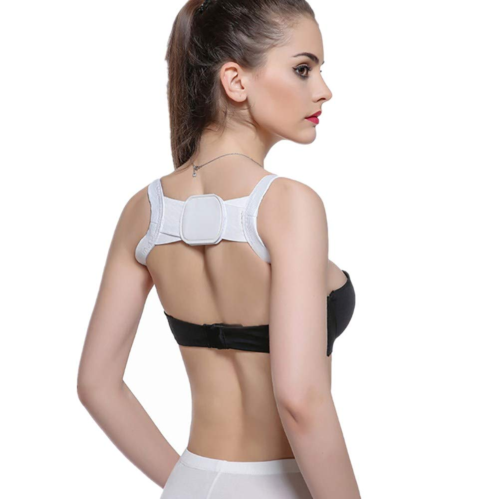Usstore  Women Girls Orthosis Useful Body Hunchback Correction Sitting Posture Support Shoulders Chest Belt Corrector (one Size, White)