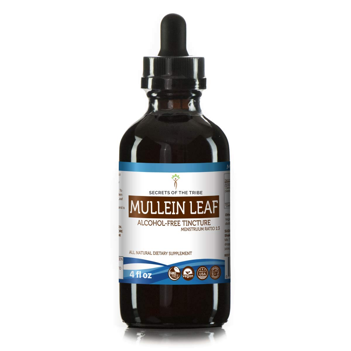 Mullein Leaf Alcohol-Free Liquid Extract, Organic Mullein Verbascum Densiflorum Tincture Supplement 4 FL OZ