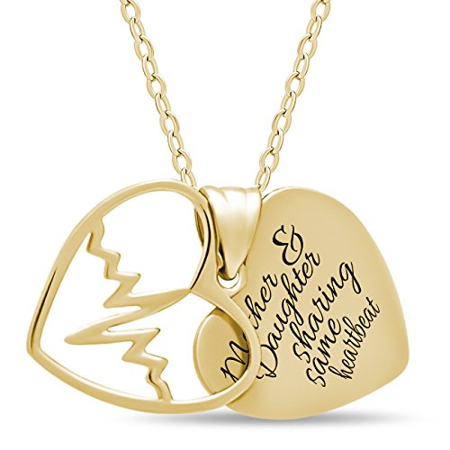 Two Gold Plated (Mother Day Gift 925 Sterling Silver Mother Daughter Heart Necklace for Mom or Daughter - Engraved 14K Gold Plated Two Heart Necklaces for Mother Pendant Double Heart Necklaces for Daughter)