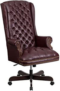 Flash Furniture High Back Traditional Fully Tufted Burgundy LeatherSoft Executive Swivel Ergonomic Office Chair with Arms