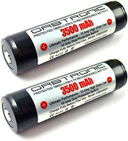 3500mAh 18650 ORBTRONIC Two PROTECTED Rechargeable Button Top High Performance Li-ion Batteries 3.7V For High Power 18650 Flashlights - NOT for ecig devices
