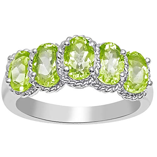 - Orchid Jewelry 925 Sterling Silver 2 1/2 Carat Peridot Five Stone Ring
