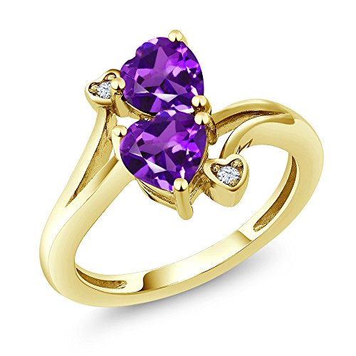 Ring 3 10k Stone - Gem Stone King 10K Yellow Gold Purple Amethyst Ring 1.33 Ctw Heart Shape (Size 7)