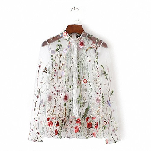 To Plus 6x Costumes Size Up (Women sweet flower embroidery mesh shirts sexy transparent long sleeve blouse female stand collar brand tops blusas White)