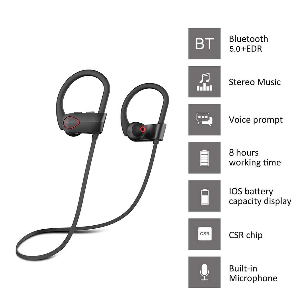 Sport Bluetooth Headphones IPX7 Waterproof Wireless Hanging Neck Earphones, 5.0 HiFi Subwoofer Headset In-Ear Earbuds With Microphone, Noise Cancelling For Women Men Workout, Running, Gym
