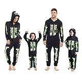 Mens, Ladies & Childrens Skeleton Glow in the Dark Halloween Hooded Onesie Jumpsuit Costumer (11-12 Years)