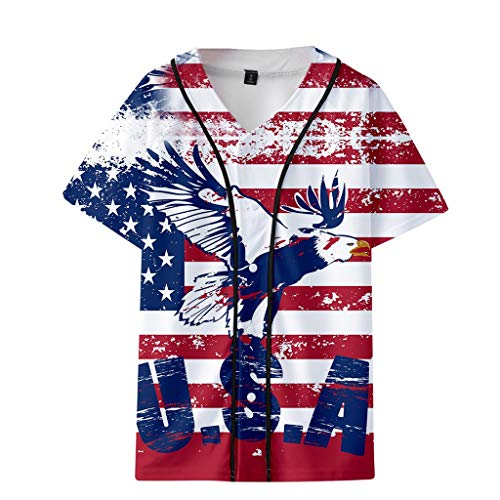 Women Men Short Sleeve Jacket American Flag Graphic Print Pullover Button Down Casual T-Shirt Baseball Uniform by Lowprofile