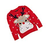 Velius Girl's Long Sleeve Knit Elk Christmas Sweater Tops (5-6 Years/130cm, Reindeer)
