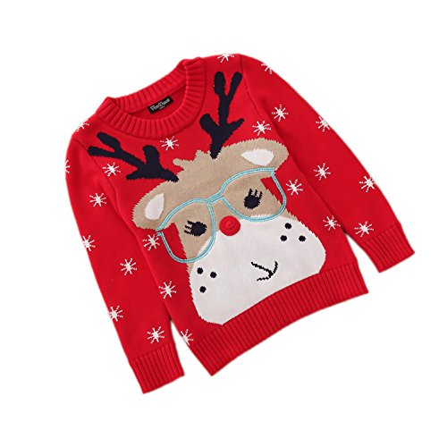 Velius Girl's Long Sleeve Knit Elk Christmas Sweater Tops (2-3 Years/105cm, Reindeer) ()