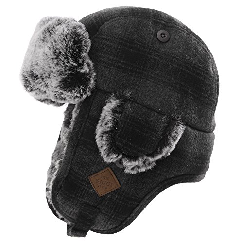 (Mens Womens Plaid Faux Fur Hunting Bomber Trapper Flaps Winter Cap Ushanka Russian Hat Gray)