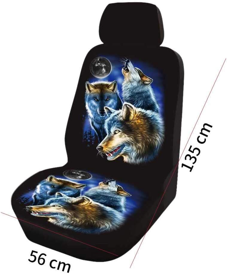 2 bequem Innendekoration Xpccj Autositzbezug rutschfest Polyester verschlei/ßfest staubdicht weich, Vordersitz waschbar Wolf-Motiv