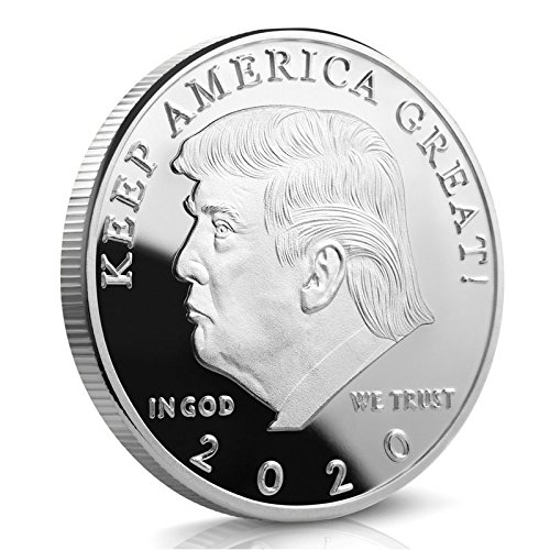 Keep America Great Challenge Coin - Donald Trump 2020 Silver Plated in the Commemorative Collectors Edition Series - Stunning Proof Like Coins - A Michael Zweig Designer Coin for Presidential (Silver Finish Challenge Coin)
