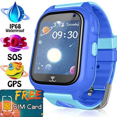 Smart Watch for Kids GPS | SIM Card Include | IP68 Waterproof Kids Smart Watch | GPS Tracker Locator for Boys Girls Children | SOS Anti- Lost Touch Camera Games Learning Tools Children Toy