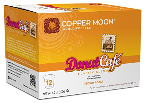 Copper Moon Single Cups for Keurig K-Cup Brewers, Donut Café, 12 Count, Medium Roast Coffee, Smooth and Light Bodied, A Classic American Blend, Single-Serve Coffee Pods