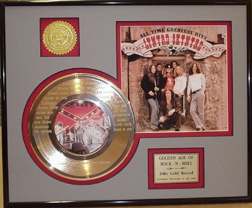 """Lynyrd Skynyrd""""Sweet Home Alabama"""" Framed 24Kt Gold Record Etched W/Lyrics Rare Music Memorabilia from Gold Record Outlet"""