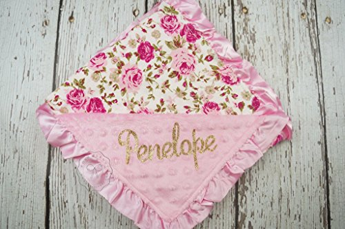 Floral baby blanket with name personalize swaddle blankie nursery minky
