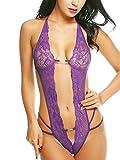 FasiCat Women's Deep V Halter Lingerie Lace Babydoll Teddy Bodysuit Mini Dress Purple 2XL