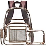 NiceEbag Clear Backpack with Cosmetic Bag Makeup Pouch,Clear Transparent PVC Backpack Multi-pockets School Bookbag See Through Travel Casual Rucksack with Pencil Case Fit 15.6 Inch Laptop,Bronze
