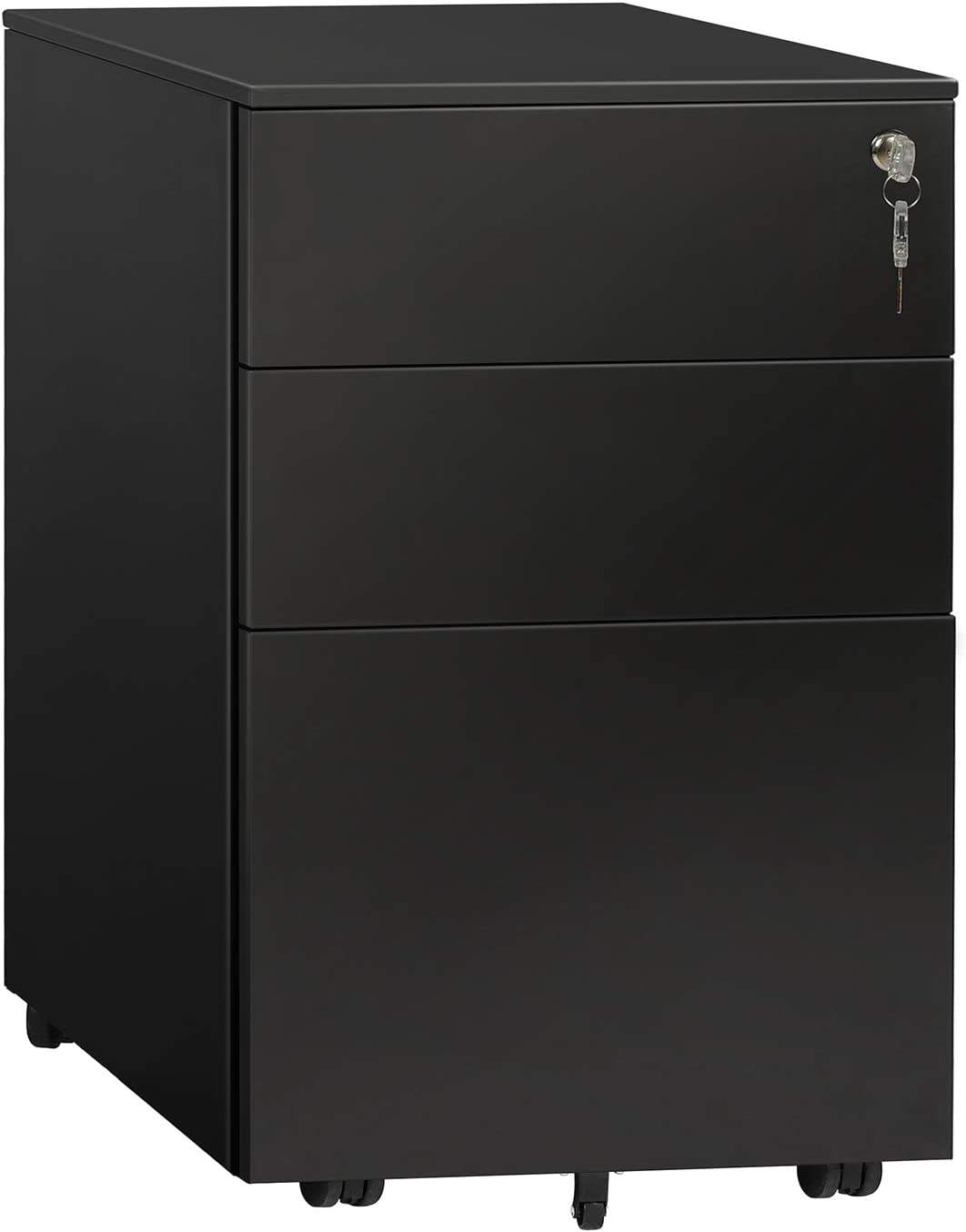 DEVAISE 3 Drawer File Cabinet with Lock, Steel Mobile Filing Cabinet, Office Pedestal, Fully Assembled Except Casters