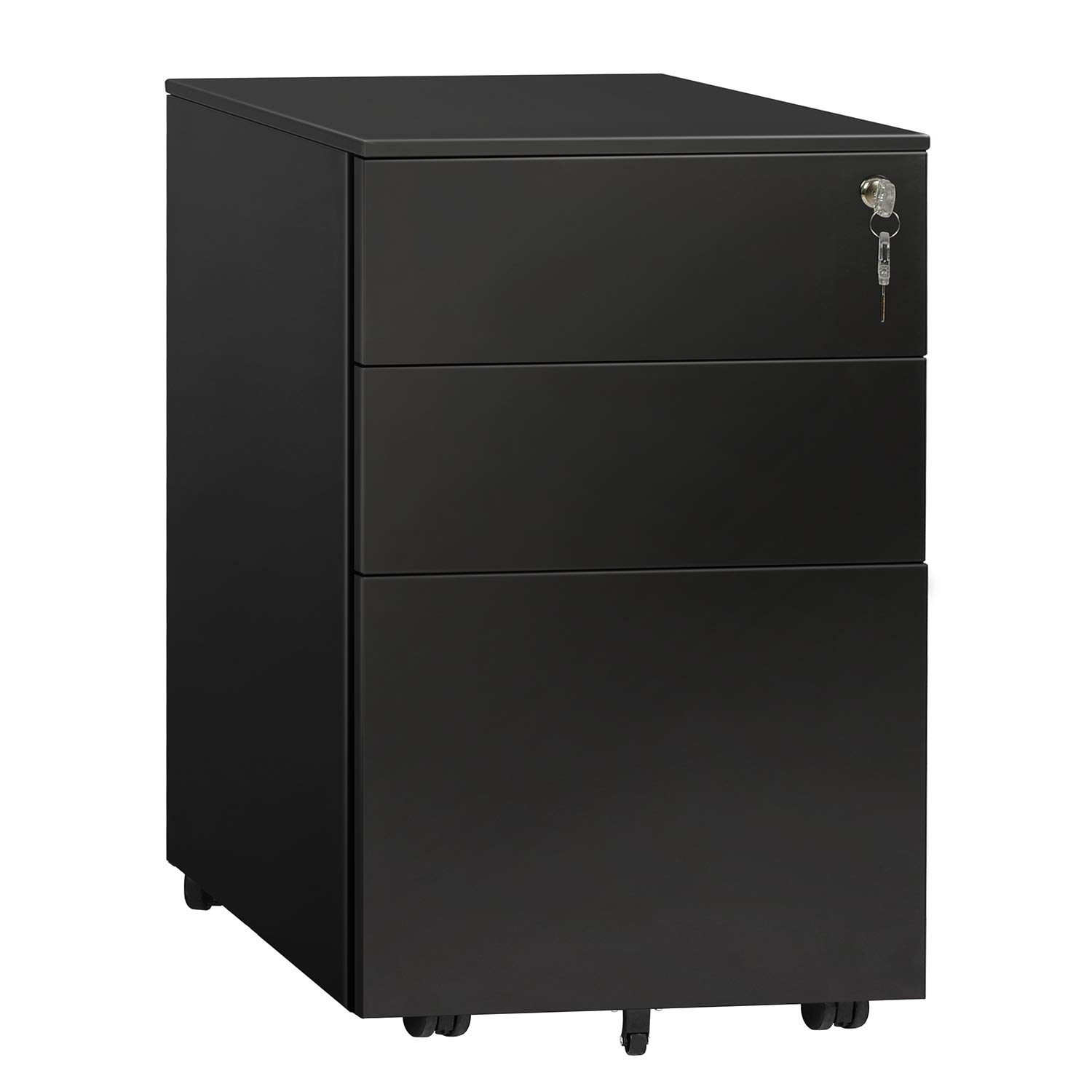 DEVAISE 3 Drawer File Cabinet with Lock, Steel Mobile Filing Cabinet, Office Pedestal, Fully Assembled Except Casters by DEVAISE