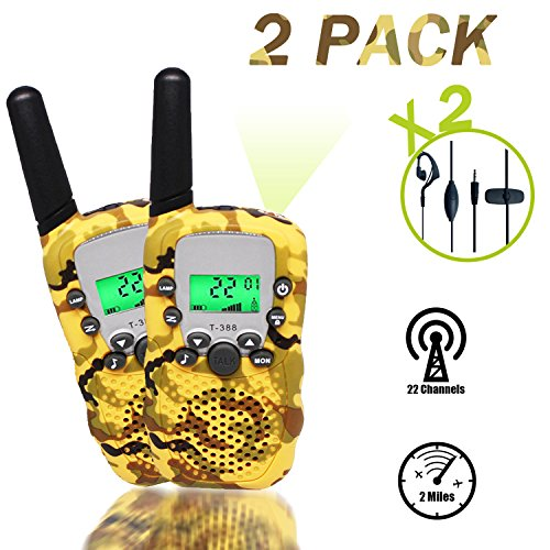 Woqoo 2 Pack Walkie Talkies For Kid, Two Way Radio 22 Channels FRS/GMRS UHF Kids Walkie Talkies with Earpiece and Speaker Mic LED Flashlight for Boys Girls Camping Travel Brirthday GIFT, Camo Yello