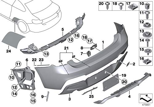 BMW Genuine M Performance Rear Towing Eye Flap Tow Hook Cover Primed 51128055964