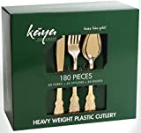 Kaya Collection - Disposable Plastic Gold Silverware Cutlery, Shiny Metallic Flatware 60 Forks, 60 Knives and 60 Spoons Baroque Design (180 Pc)