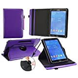 Emartbuy® Samsung Galaxy Tab E 9.6 Inch Tablet Universal ( 9 - 10 Inch ) Purple Premium PU Leather 360 Degree Rotating Stand Folio Wallet Case Cover + Purple Stylus