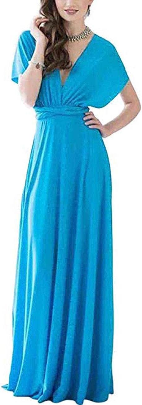 TALLA L(ES 44-46). FeelinGirl Mujer Vestido Maxi Convertible Espalda Decubierta Cóctel Multiposicion Tirantes Multi-Manera Largo Falda para Fiesta Ceremonia Sexy y Elegante Dorado L(ES 44-46)