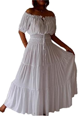 efa595759d4 Amazon.com  LOTUSTRADERS Stunning Short Sleeve Mexican Peasant Dress ...