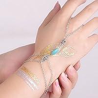 1pc Turquoise Bead Bracelet Bangle Slave Chain Link Finger Ring Hand Harness New EW