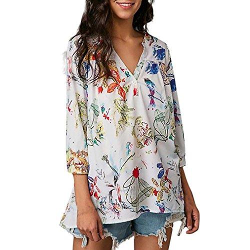 ❤ Blusas Estampadas de Mujer,Camiseta con Cuello en V Floja de Tres Cuartos con Cuello en V veraniega Absolute: Amazon.es: Ropa y accesorios