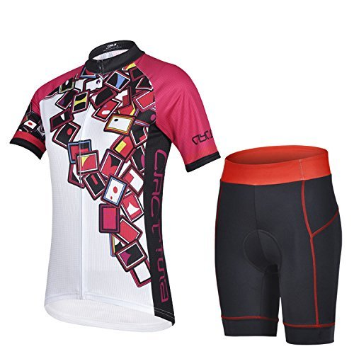 TSin Women's Quick-Dry Short Sleeve Cycling Jersey 3D Padded Short Set Devil Style (Color Square Size L) (Karting Rain Suit compare prices)