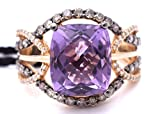 LeVian Amethyst Chocolate and White Diamonds Cocktail Gladiator Crisscross Ring 5.5 cttw, size 7-7 1/4