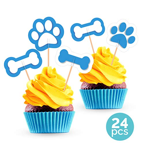 Paw Print Cupcake Toppers - Puppy Dog Birthday Party Decorations Supplies - 24 -