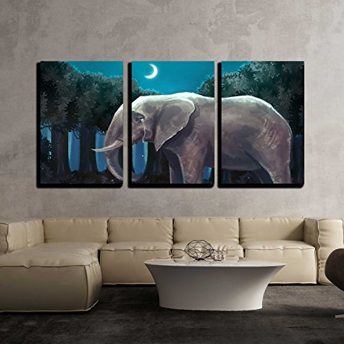 Modern Bunny (wall26 - 3 Piece Canvas Wall Art - Illustration of White Rabbit Bunny Talking with a Sad Elephant in the Forest Night Scene - Modern Home Decor Stretched and Framed Ready to Hang - 24