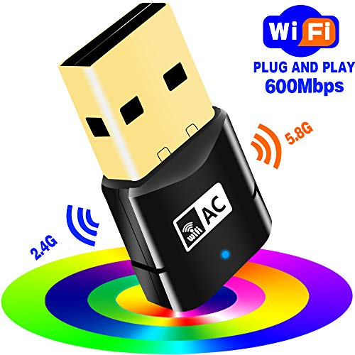 USB WiFi Adapter-600Mbps USB Wireless Network Adapter WiFi Dongle Dual Band 2.4G/5G for PC/Desktop/Laptop/Mac,Support Windows 10/8/8.1/7/Vista/XP/2000,Mac OS 10.6-10.13,No CD Disk Needed