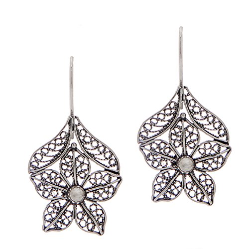 (925 Sterling Silver Filigree Daisy Flower Drop Earrings)