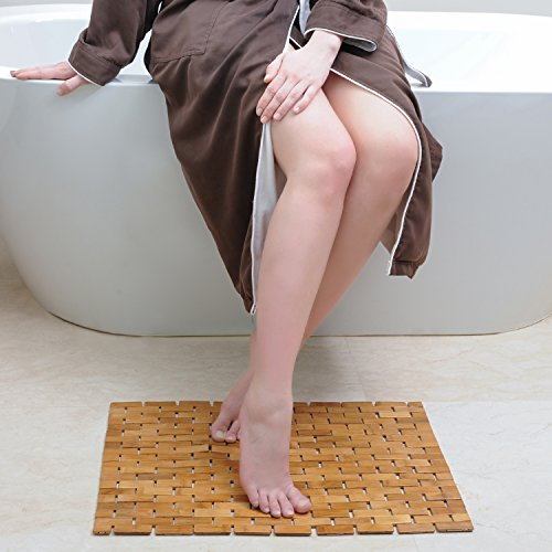 Luxury Roll-Up Bamboo Bath Shower Spa Sauna Mat (23.6 x 16 x 0.2 inches) Medium (Mat Wood Bath)